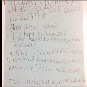Print screen av Vasaelevers brev till Teemu Selänne som Selänne svarade på på sin Facebooksida.