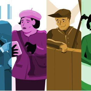 Montage av flera grafikbilder av debattörstyper.