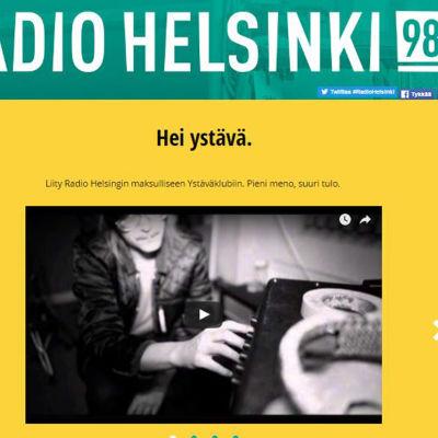 Skärmdump från Radio Helsinkis webbplats.