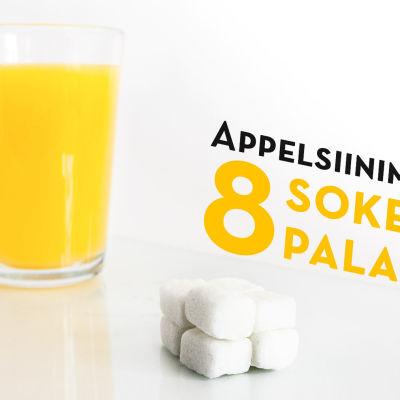 Appelsiinimehun sokerimäärä sokeripaloina