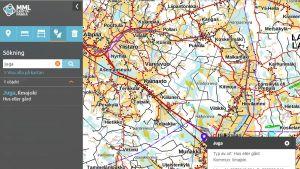 Lantmäteriverkets karttjänst hittar inte kommunen med det vedertagan svenska namnet Juga. Skärmdump från Kartplatsen.