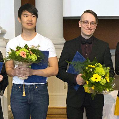 2017 års Arvid Mörneprisvinnare Déa Solin, Quyanh Tran och Axel Åhman.