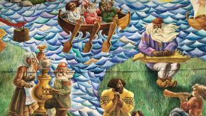 Uhtuan eli Kalevalan kulttuuritalolla kalevalainen seinämaalaus tarjoilee tsaijua ja kantelemusiikkia