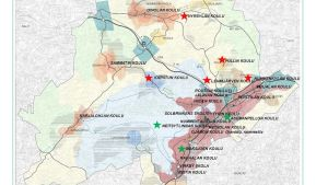 Karta över skolnätet i Lojo, skolorna med en stjärna hotas av stängning.