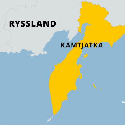 Karta där man kan se halvön Kamtjatka.