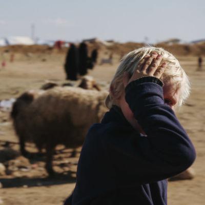 Suomalainen poika al-Holin leirissä Koillis-Syyriassa.