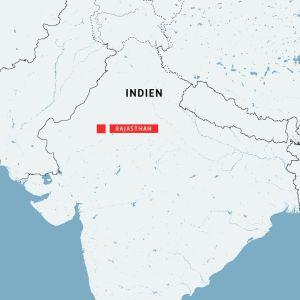 Karta över Rajasthan, Indien där en bussolycka ledde till att 30 personer omkom.