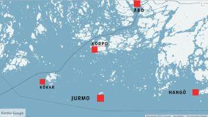 Karta där Jurmo finns i mitten, Kökar i väster, Korpo och Åbo i norr, och Hangö i öster.