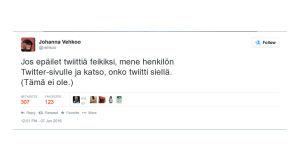 Kuvakaappaus Johanna Vehkoon väärennetystä twiitistä.