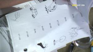 Ett papper med enkla språkövningar