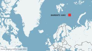 karta över barents hav.