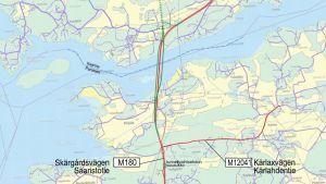 Karta över alternativa dragningar för nya rävsundsbron