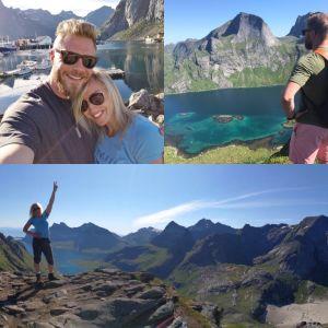 Jutta Gustafsberg, takana kuvassa vuoria.