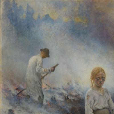 Yksityiskohta Eero Järnefeltin teoksesta Kaskenpolttajat