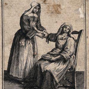 Nunna iskee suonta potilaalta. Menetelmä oli yleinen hoitomuoto antiikista nykyaikaan.