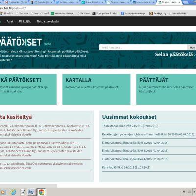 Helsingfors stads beslutsfattande på nätet