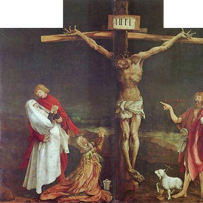 Issenheimin alttaritaulun keskipaneeli. Jeesus ristillä.