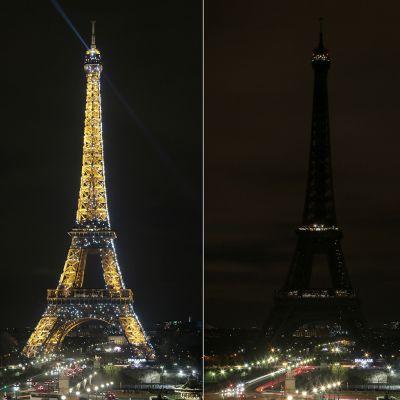 Kuvakombo Eiffel-tornista valaistuna ja pimeänä.