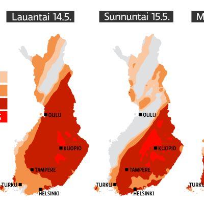 Siitepölyn määrä ilmassa vuorokauden keskiarvoina. Ennuste perustuu mittaustulosten ja sääennusteiden perusteella tehtyihin mallinnuksiin siitepölytilanteen kehittymisestä.