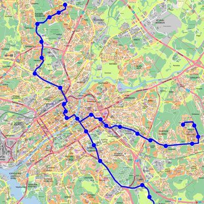Raitiovaunulinjaukset piirrettynä Turun kaupungin kartalle.