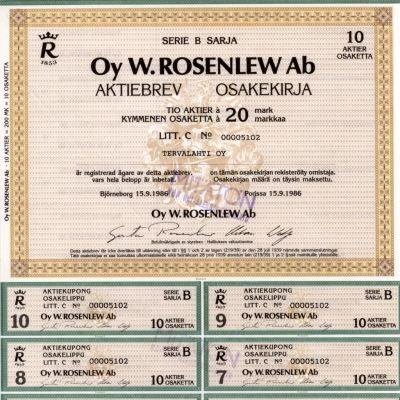 Oy W.Rosenlewin osakekirja vuodelta 1986