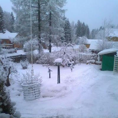 Talvinen kotipiha Porin Ruosniemessä.