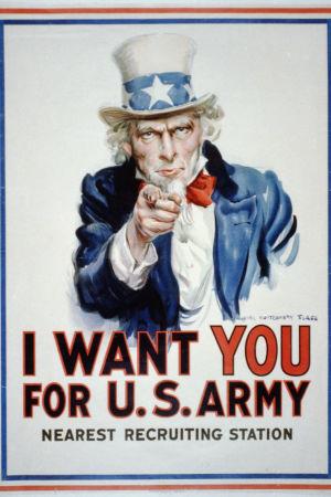 Juliste jossta Setä Samuli osoittaa sormella ja teksti I want you for U.S. army