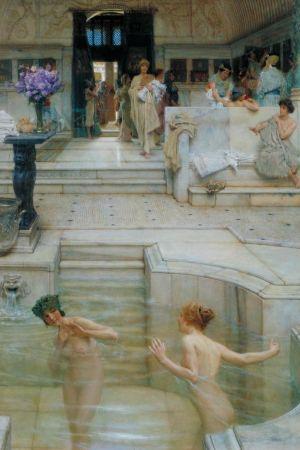 """Två kvinnor badar i ett antikt romerskt badhus. Målningen """"A Favourite Custom"""" (1909) av den holländsk-brittiske konstnären Lawrence Alma-Tadema (1836–1912)."""