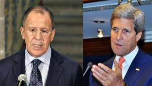 Rysslands utrikesminister John Kerry och Sergej Lavrov.