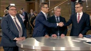 Timo Soini (Sannf) , Alexander Stubb (Saml) , Antti Rinne (SDP), Juha Sipilä (C)