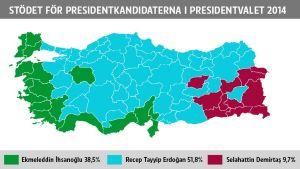 Den regionala förselningen av stödet för presidentkandidaterna