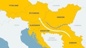 Karta över flyktingströmmen genom Serbien.