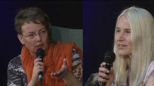 Paula Havaste ja Johanna Valkama Helsingin kirjamessuilla 2016