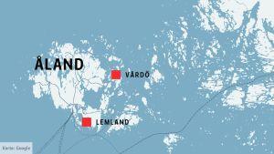 Karta över Åland som visar att Lemland ligger i södra Åland och Vårdö i öst.