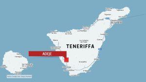 Karta över Teneriffa med staden Adeje utmärkt.