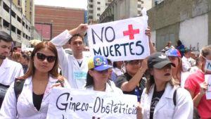 Läkare i Caracas demonstrerar för bättre tillgång till mediciner