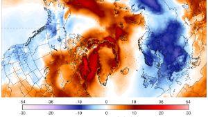 Temperaturen i polarområden i norr avviker från medeltalet.