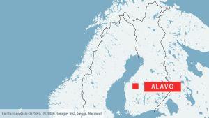 Alavo (på finska: Alavus) utprickad på en karta.