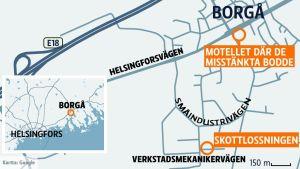 Karta på platsen där skottlossningen ägde rum.