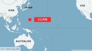 Karta över Stilla havet och Guam.