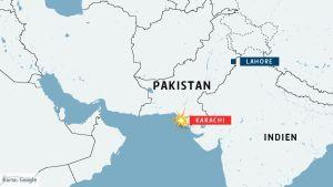 Kartan visar var flygolyckan skedde.