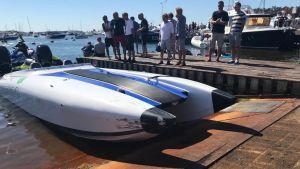 En av de två båtar som kolliderade under Poker Run-evenemanget i Hangö i augusti 2020.