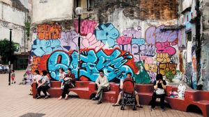 Egs graffitimålning i Macao, Kina, från 2014.