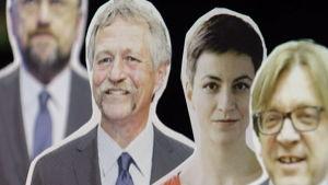 Fyra av toppkandidaterna i EU-valet 2014: fr.v. Martin Schultz, José Bové, Ska Keller och Guy Verhofstadt.