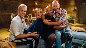 Christoffer Strandberg, Jucci Hellström och Kaj Kunnas är gäster i första avsnittet av Maria och sommarpratarna. Bild: Dan Gustafsson, Parad Media 2019