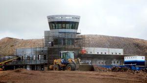 Byggarbeten på Sankt Helenas flygplats 2014.
