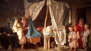 Målning av en stuga med flere barn och en mor vid en enkel säng med sängkläder på halm.