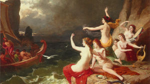 Karl von Blaasin öljymaalaus Odysseus ja seireenit vuodelta 1882