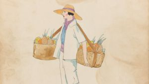 West Indies. Fruits. En elegant klädd kvinna som bär frukt i korgar förenade av en rem över nacken.