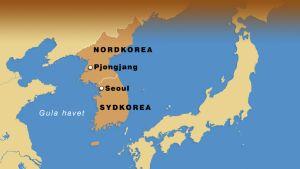 Karta över Nord- och Sydkorea